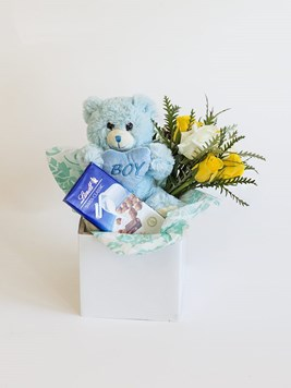 New baby flowers send a congratulations message from sunninghill baby boy lindt box negle Choice Image
